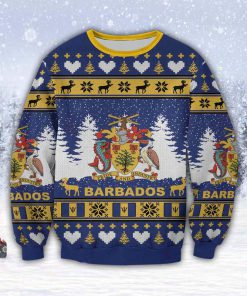 coat of arms of barbados all over print ugly christmas sweater 2