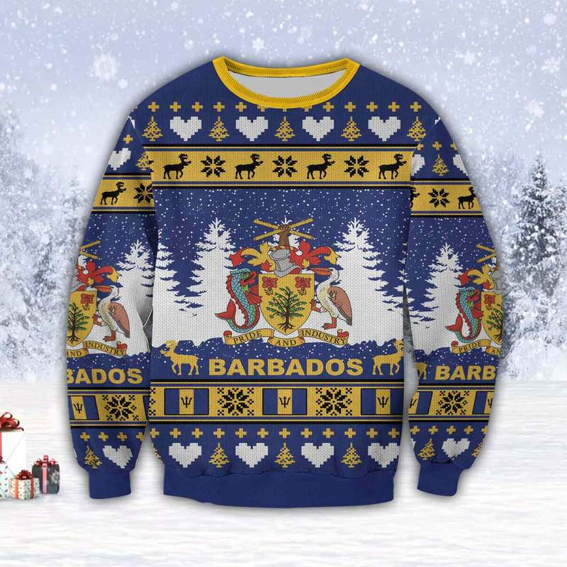 coat of arms of barbados all over print ugly christmas sweater 3