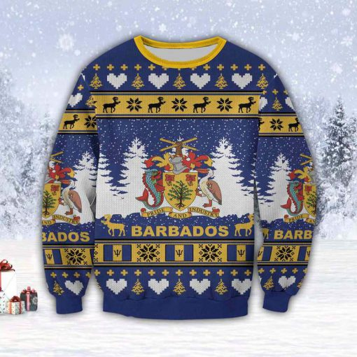 coat of arms of barbados all over print ugly christmas sweater 4