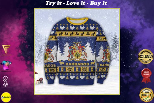 coat of arms of barbados all over print ugly christmas sweater