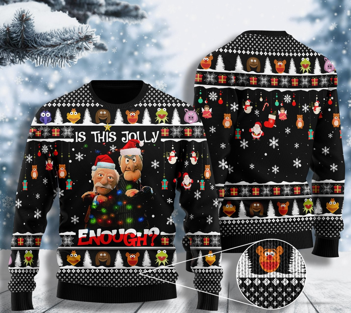 comedy the thing about hecklers is this jolly enough ugly christmas sweater 2 - Copy