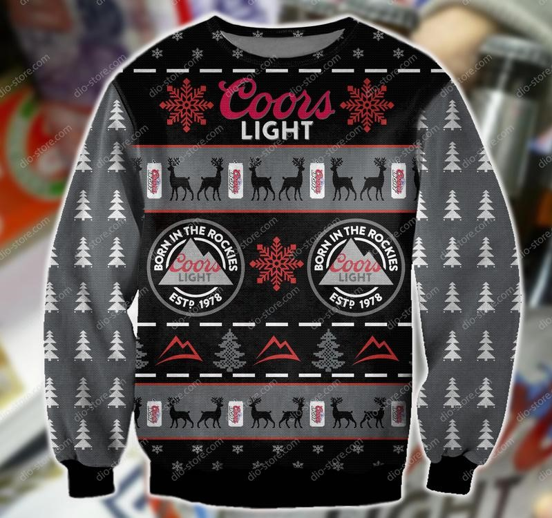 coors light beer born in the rockies all over print ugly christmas sweater 2