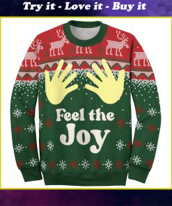 couple shirt feel the joy all over printed ugly christmas sweater