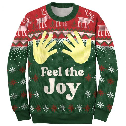 couple shirt feel the joy all over printed ugly christmas sweater 3