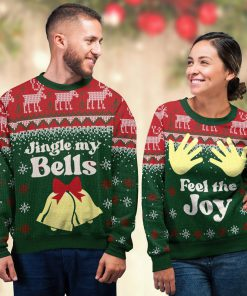 couple shirt feel the joy all over printed ugly christmas sweater 4