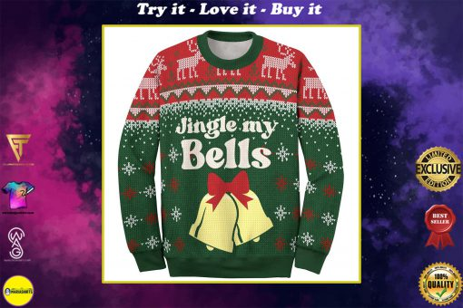 couple shirt jingle my bells all over printed ugly christmas sweater