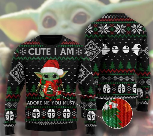 cute i am adore me you must baby yoda ugly christmas sweater 2