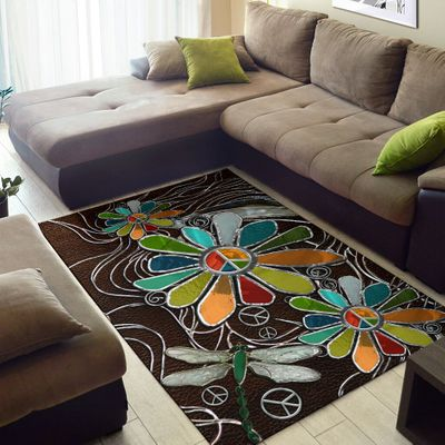 dragonfly hippie soul leather pattern full printing rug 2