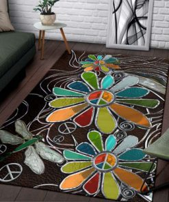 dragonfly hippie soul leather pattern full printing rug 3