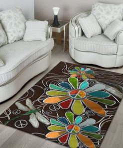 dragonfly hippie soul leather pattern full printing rug 4
