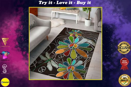 dragonfly hippie soul leather pattern full printing rug