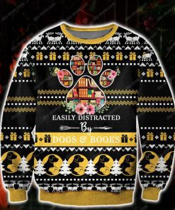 easily distracted by dogs and books all over print ugly christmas sweater 2