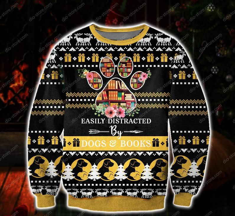 easily distracted by dogs and books all over print ugly christmas sweater 2 - Copy