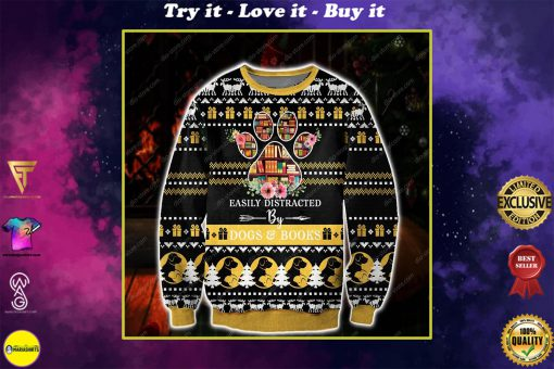 easily distracted by dogs and books all over print ugly christmas sweater