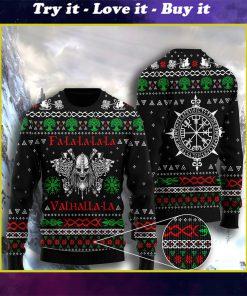 fa la la la valhalla la viking full printing ugly christmas sweater