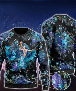 floral mermaid and dolphins ugly christmas sweater 2