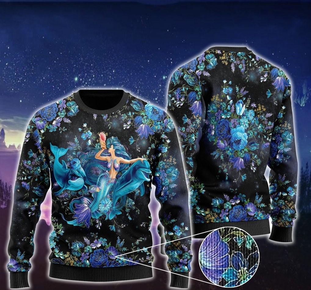 floral mermaid and dolphins ugly christmas sweater 2 - Copy (3)