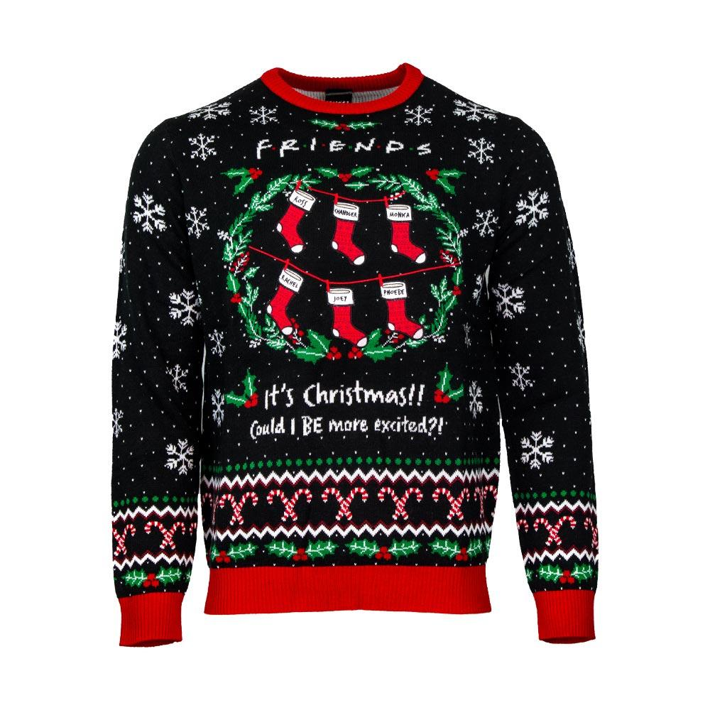 friends its christmas could i be more excited all over printed ugly christmas sweater 2