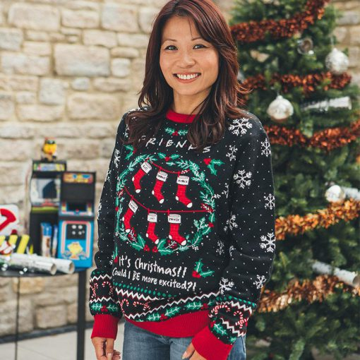 friends its christmas could i be more excited all over printed ugly christmas sweater 3