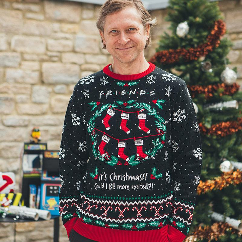 friends its christmas could i be more excited all over printed ugly christmas sweater 4