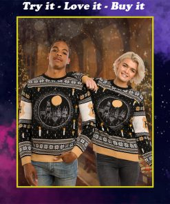harry potter hogwarts castle all over printed ugly christmas sweater