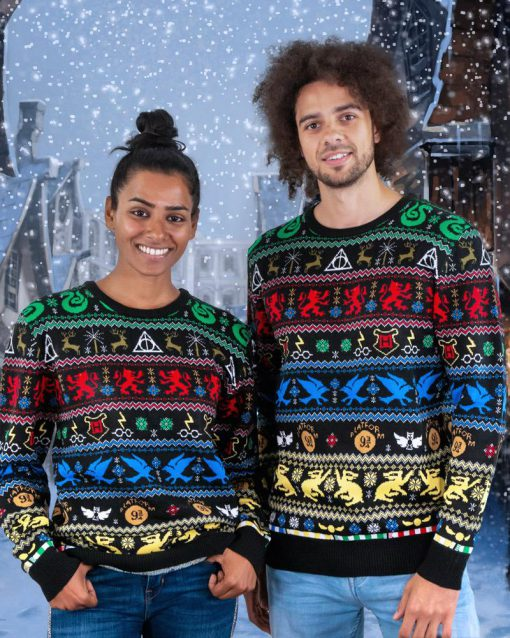 harry potter hogwarts houses all over printed ugly christmas sweater 2
