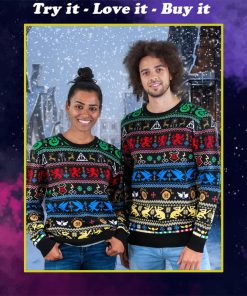harry potter hogwarts houses all over printed ugly christmas sweater