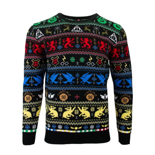harry potter hogwarts houses all over printed ugly christmas sweater 3
