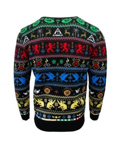 harry potter hogwarts houses all over printed ugly christmas sweater 5
