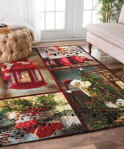 holiday time bear and christmas tree full printing rug 2