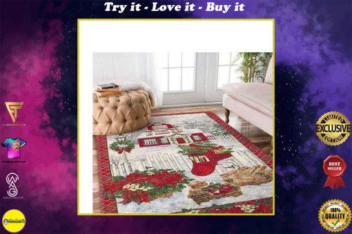 holiday time christmas house full printing rug