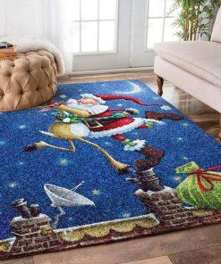 holiday time christmas reindeer and father christmas full printing rug 2