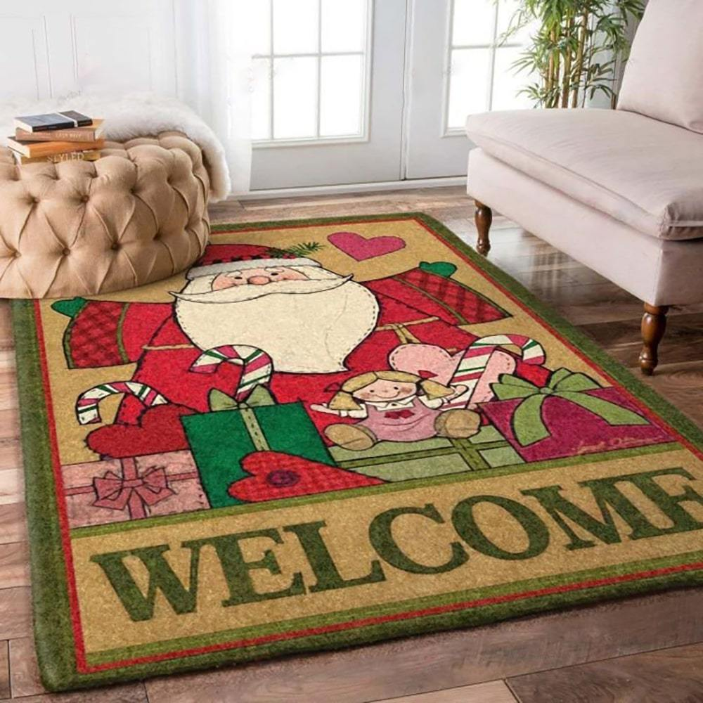 holiday time santa claus and christmas gift full printing rug 2