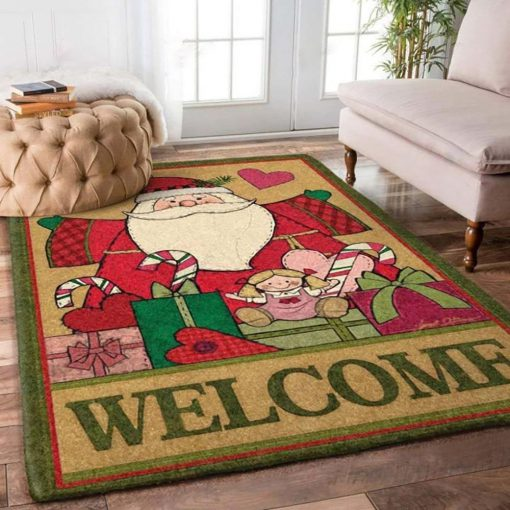 holiday time santa claus and christmas gift full printing rug 3