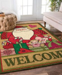 holiday time santa claus and christmas gift full printing rug 4