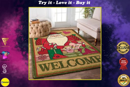 holiday time santa claus and christmas gift full printing rug