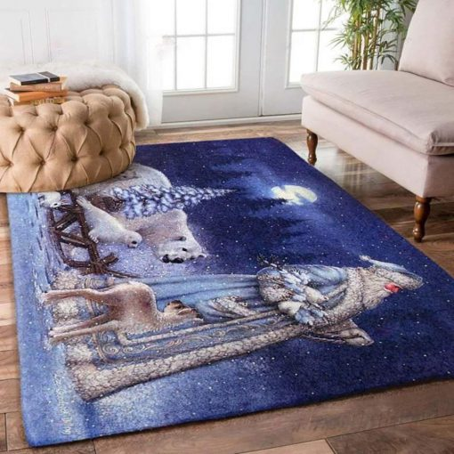 holiday time santa claus on christmas night full printing rug 2