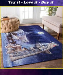 holiday time santa claus on christmas night full printing rug