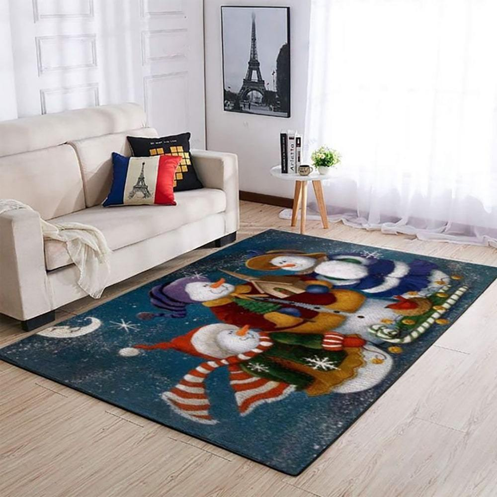 holiday time snowman full printing rug 2