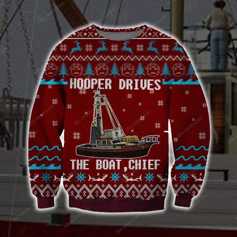 hooper drives the boat chief full printing ugly christmas sweater 2