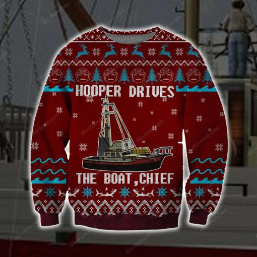 hooper drives the boat chief full printing ugly christmas sweater 3