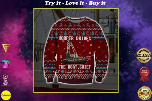 hooper drives the boat chief full printing ugly christmas sweater