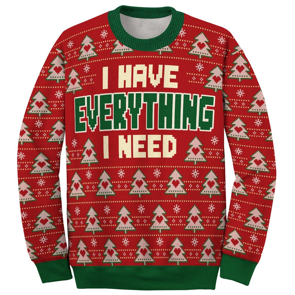 i have everything i need love couple ugly christmas sweater 2