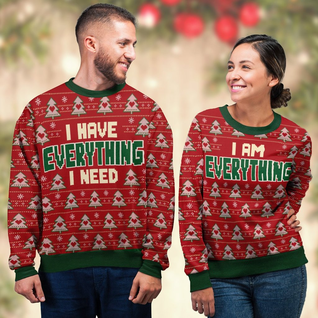 i have everything i need love couple ugly christmas sweater 4