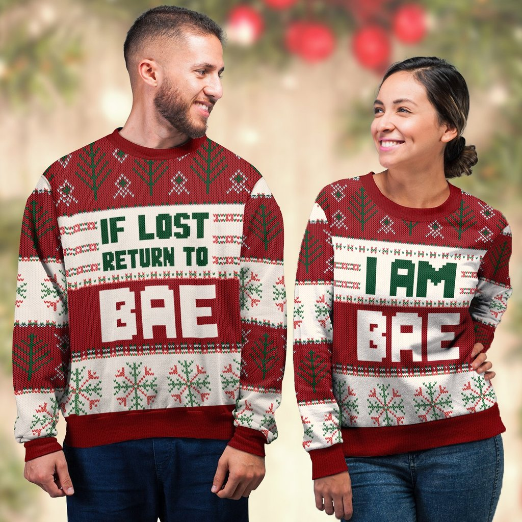 if lost return to bae and im bae couple shirt ugly christmas sweater 4