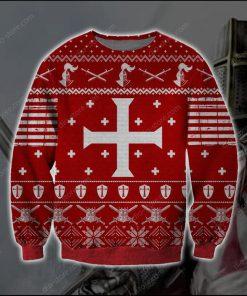 knights templar knitting pattern full printing ugly christmas sweater 2