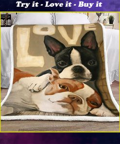 love boston terrier full printing blanket