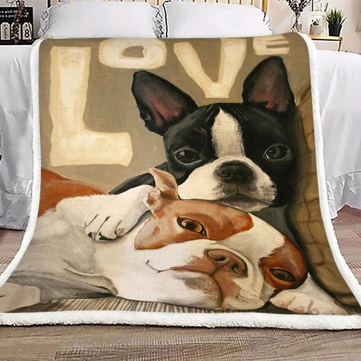 love boston terrier full printing blanket 4