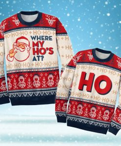 love couple santa claus where my hos at ugly christmas sweater 2love couple santa claus where my hos at ugly christmas sweater 2