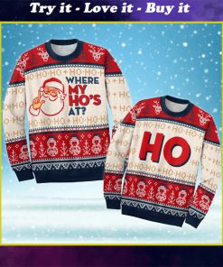 love couple santa claus where my hos at ugly christmas sweater